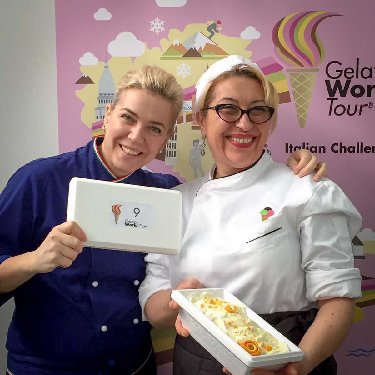 Arianna Silvia, docente CGU, insieme Cristina Mazzi della gelateria Da Frizzina - Tappa 18 febbraio Grosseto, Orsa Refrigerazione