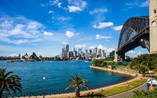 Cityscape of Sydney Downtown and Harbor Bridge
